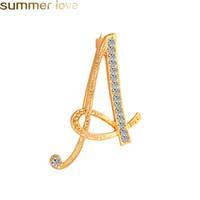 Lettera di cristallo design Spille Pins Personality 26 regali gioielli inglesi iniziali Spille strass lettera alfabetica Spilla creativi