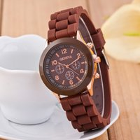 New Mint Green Geneva watch Shadow Design Men Rose Gold color rubber silicone candy unisex Geneva quartz watches For Gift