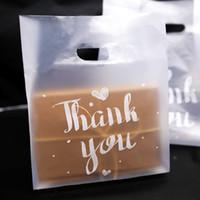شكرا لك البلاستيك هدية حقيبة القماش حقيبة التخزين حقيبة تسوق مع مقبض حزب الزفاف البلاستيك الحلوى أكياس تغليف كعكة 20pcs / lot