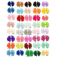 40 Colors 8cm Fashion Baby Ribbon Bow Hairpin Clips Girls La...