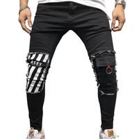 Impressão dos homens afligidos jeans magro slim para meninos novo buraco zipper athleisure sportswear longa calças de lápis de denim