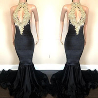 New Arrival Mermaid Prom Dresses 2019 Open Back Gold Appliqu...