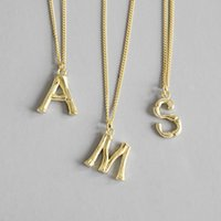 925 Sterling Silver Letter Pingente de Ouro Colar Mulheres A2581
