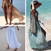Seksi Plaj Kapak Ups Wrap Maxi Etek Bikini 2020 Mayo Kadın Mayo Kadınlar Katı Pareo Yaz Beach Wear şifon Sarongs