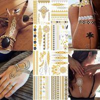 Flash métallique imperméable tatouage or argent femmes mode henné / paon plume Design temporaire bâton de tatouage Paster