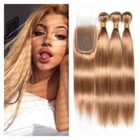 Honey Blonde #27 Malaysian Virgin Human Hair Bundles With Cl...