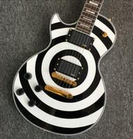 Negozio personalizzato Mancino Zakk Wylde Bullseye Bianco Black Black Guitar Guitar Electric Copy EMG Pickups, Copertura della barrante dell'oro, Oro Grover Sintonizzatori