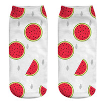 3D 인쇄 cartoom 과일 음식은 소녀 인쇄 레몬 파인애플 수박 딸기 패턴 요가 피트니스 짧은 양말 귀여운 여성 양말