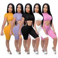 Nuevos estilos de las mujeres Dos Piezas general cortocircuito los sistemas sólido camiseta de manga corta de cuello alto + correas flacas playsuits Sexy Girls 2PCS Trajes