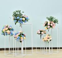 Geometrik Düğün Yol Dekorasyon Quadrate Demir Düğün Süslemeleri Ayrılabilir Demir Düğün Yol Kurşun Geometrik Çiçek Stand