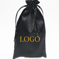 50 adet Siyah Saten Çanta Ambalaj Saç Peruk Uzatma Hediye Çantası Özel İpli Çanta 18x30 / 30x40 cm Depolama Kılıfı