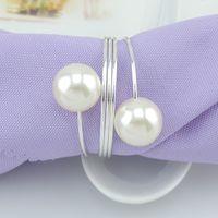 Branca Pérolas guardanapo anel de casamento anéis de guardanapo guardanapo Buckle para a recepção festa de casamento Tabela Decoração Suprimentos customizável DBC VT0729