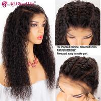 Las pelucas del frente del cordón del cabello humano 13x6 Para Mujeres Negro HD transparente rizado pelucas de encaje frontal Pre desplumados Bebé del pelo de Remy del 150%
