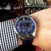 Новый Master Control Geophysic Master Geographic 1428530 Синий циферблат Автоматические мужские часы Стальной корпус Синий кожаный ремешок Часы Hello_watch