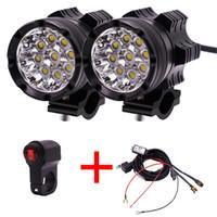 1 Çift Motosiklet LED Farlar 12 V 90 W 11000LM LED Motosiklet Işın Far Moto Spot Başkanı Işık Yardımcı Lamba DRL