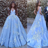 Off the Shoulder Blue Prom Gowns Blue Sexy Lace Applique Bal...