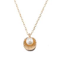 Collares de perlas puros Colgante de concha de oro Cadenas de eslabones largos Joyería de aleación de zinc Regalos de bodas de la Unión Europea EE. UU. Wedding Party Girls Classic POTALA047