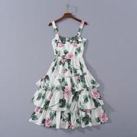 Европейские и американские женской одежды 2020 лето новый стиль Condole пояса Роза напечатаны моды волана торт платья