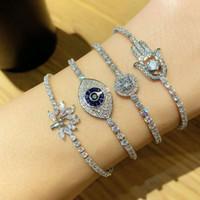aus der Hand von Fatima Kette Armband gefror für Frauen Luxus-Designer-buntes bling Diamanten Teufelsauge Armbänder Silber Tennisketten Schmuck