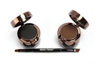 2 1 Müzik Çiçek Büyüledi Kaş + Eyeliner Krem Makyaj Paleti Su geçirmez Siyah Kahverengi Doğal Eyeliner Kozmetik Seti içinde