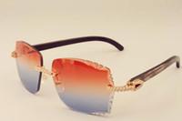 Yeni direkt lüks moda elmas güneş gözlüğü 3524014 doğal siyah desen boynuzları bacaklar güneş gözlüğü ayna gravür mercek özel özel