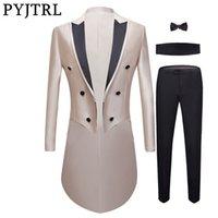 PYJTRL New Men 4 Stück Set Luxuriöse Hochzeit Bräutigam glänzende Farbe Smoking Herren Prom Slim Fit Kleid Anzüge Sänger Kostüm Homme