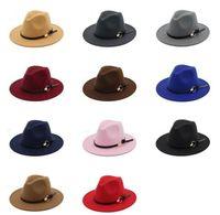 남성 여성 우아한 패션 단단한 느낌 페도라 모자 밴드 와이드 평면 모자 챙을 재즈 모자 세련된 트릴 파나마 모자를위한 패션 TOP 모자