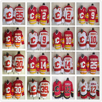 خمر CCM Calgary Flames 12 Jarome Iginla Jersey Hockey مخيط 2 Al Macinnis 25 Joe Nieuwendyk 30 Mike Vernon 39 دوغ جيلمور الفانيلة
