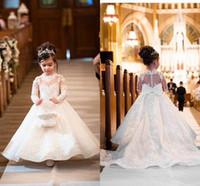 2021 formal do casamento Flower Girl Dresses Floral Lace apliques de mangas compridas Trem da varredura Meninas Pagent do aniversário do partido vestidos AL2900