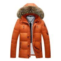 Hombres chaqueta abajo Larga Sección 2019 del invierno del espesamiento del collar grande de la piel de la chaqueta con capucha caliente al aire libre informal