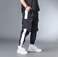 7XL 6XL XXXXL Мужчины хип-хоп пояс штаны Люди Лоскутных Комбинезоны Streetwear бегуны Брюки Мужских шаровары