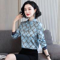 Lüks Pist Ipek Saten Fırfır Gömlek Uzun Kollu 2021 Kadınlar Vintage Mock Boyun Baskılı Düğme Gömlek Rahat İlkbahar Sonbahar Kış Ofis Bayanlar Tasarımcı Bluzlar Tops