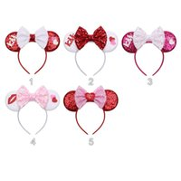 Il nuovo stile San Valentino decorazioni paillettes grandi dell'arco della fascia accessori per capelli di topo adulto Bambini modellazione orecchio cerchio bastoni dei capelli