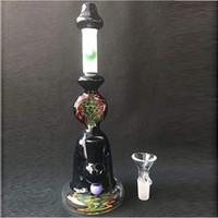 Patrón Bong Bong engranaje del cubilete Negro Arte en Vidrio Pipas de agua de agua del aparejo Tubos Tubos de aceite Conjunto Headshop agua Vidrio