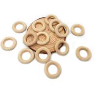 جديد 100 قطع 30 ملليمتر عضاضة التسنين الطفل الخرز الخشبي الخشب حلقة diy حلقات التسنين خشبية قلادة الحرفية الطبيعية