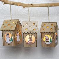 Светодиодные Деревянные куклы Дом Вилла Рождественские украшения Xmas Tree Висячие Декор 2018 Новый год 1030
