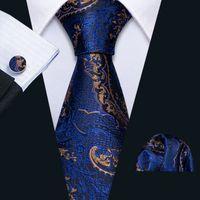 Snelle verzending zijden tie set blauw goud paisley groothandel stropdas hanky manchetknopen zijde jacquard geweven mannen das set bruiloft bedrijf n-5133