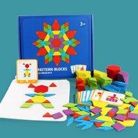 Sıcak Satış 155 ADET Ahşap Bilmecenin Kurulu Set Renkli Bebek Montessori Eğitici Oyuncaklar Çocuklar Için Öğrenme Oyuncak