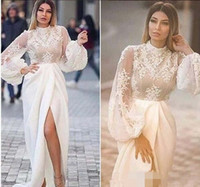 pizzo appliqued maniche lunghe abiti da sera arabo formale 2018 abiti da ballo sirena 2019 abiti da sera cocktail party abiti da cocktail spaccati