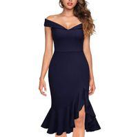 Backless Sexy Abend Party Kleid Frauen Schulterfrei Sommerkleid Weibliche Elegante Slash Neck Rüschen Unregelmäßige Vestidos