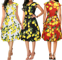 Women Vintage Adult Elegant Lemon Print Dress Free shipping ...