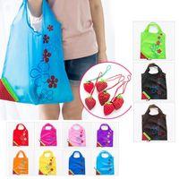 Reutilizable Compras portátil Bolsa de comestibles Tamaño grande Plegable Strawberry Shopper Tote Bolsas de almacenamiento de la casa Bolsas convenientes
