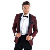 Бордовые мужские свадебные смокинги черный отворот жениха смокинги популярный мужчина пиджаки куртка отличный костюм 2 шт (куртка + брюки + галстук) 1299
