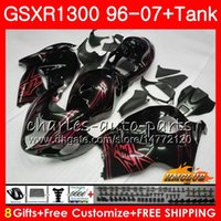 Kit Pour SUZUKI noir rouge chaud GSXR 1300 1996 2002 2003 2004 2006 2006 2007 2007 24HC.174 GSXR-1300 Hayabusa GSXR1300 96 02 03 04 05 06 07 Carénages
