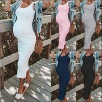 Verano ocasional vestidos de maternidad de moda sin mangas Vestido ajustado de color sólido con cuello redondo vestidos de los vestidos del tamaño Mujeres Plus