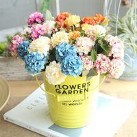 Artificial Hortensia Flores para la boda decoración del hogar 10 Jefes falso pequeño ramo de flores de seda flor del Hydrangea Ramo barato