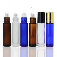 5 farben tragbare 10 ml mini rolle auf glasflaschen duft parfüm dicken glasflaschen ätherisches öl flasche glas metall roller ball 120 stücke
