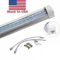 미국 주식 + 8FT 72W LED 라이트 튜브 2.4m 양면 384 개의 LED 통합 T8 LED 튜브 플러그 앤 플레이 클리어 커버