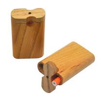 Автоматический выброс Dugout древесина корпус с Литтли курительную трубку Herb ящик для хранения 59mm * 77mm Портативной землянки быстрой доставки