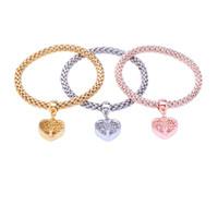 3pc Tree Of Life Charm Bracelets avec strass autrichienne Or Argent Rose 3 couleurs Chaîne élastique Bracelet pour les femmes Bijoux mode cadeau